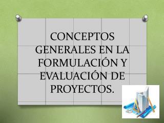 CONCEPTOS GENERALES EN LA FORMULACIÓN Y EVALUACIÓN DE PROYECTOS.