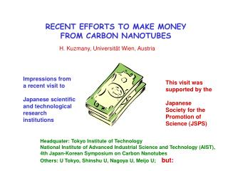 RECENT EFFORTS TO MAKE MONEY FROM CARBON NANOTUBES