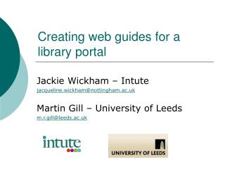 Creating web guides for a library portal