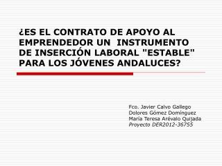 Fco. Javier Calvo Gallego  Dolores Gómez Domínguez María Teresa Arévalo Quijada
