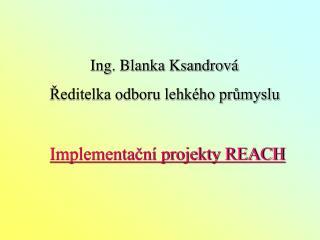 Ing. Blanka Ksandrová      Ředitelka odboru lehkého průmyslu Implementační projekty REACH