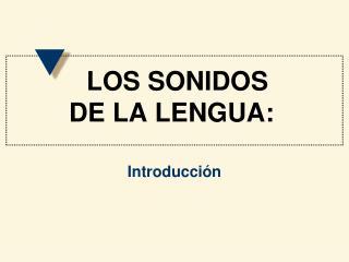 LOS SONIDOS  DE LA LENGUA:
