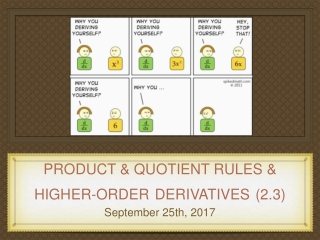 Product  Quotient Rules Higher Order Derivatives