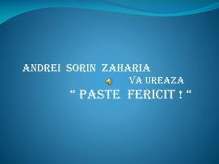 """Andrei  Sorin   Zaharia va ureaza """" PASTE  FERICIT ! """""""