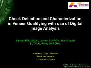 Check Detection and Characterization in Veneer Qualifying with use of Digital Image Analysis