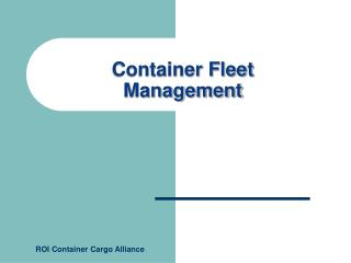 Container Fleet Management
