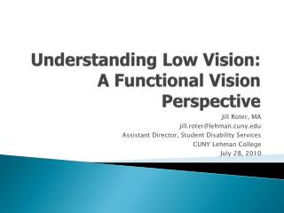 Understanding Low Vision: A Functional Vision Perspective