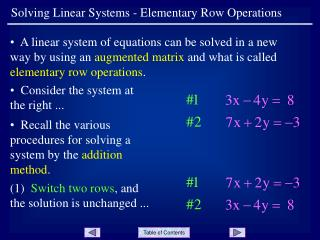 Solving Linear Systems - Elementary Row Operations