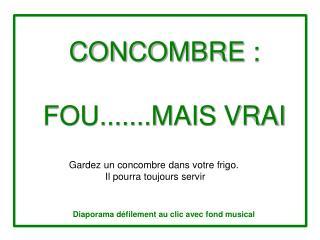 CONCOMBRE�: FOU.......MAIS VRAI
