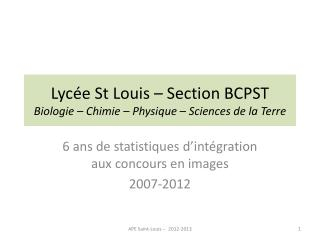 Lycée St Louis – Section BCPST B iologie – Chimie – Physique – Sciences de la Terre