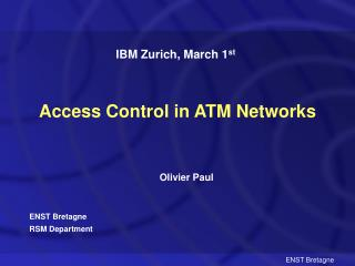 Access Control in ATM Networks