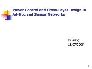 Power Control and Cross-Layer Design in Ad-Hoc and Sensor Networks