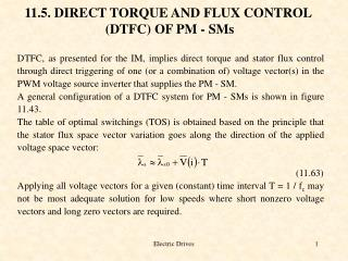 11.5. DIRECT TORQUE AND FLUX CONTROL  (DTFC) OF PM - SMs