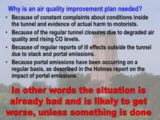 Why is an air quality improvement plan needed?