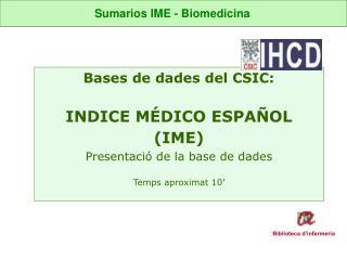 SumariosIME - Biomedicina