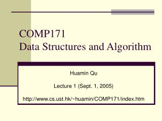 COMP171  Data Structures and Algorithm