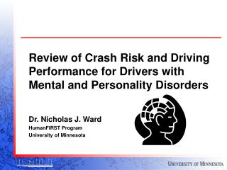 Review of Crash Risk and Driving Performance for Drivers with Mental and Personality Disorders
