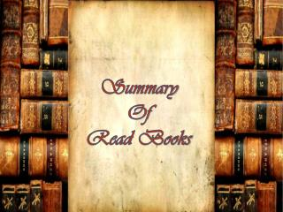 Summary Of Read Books