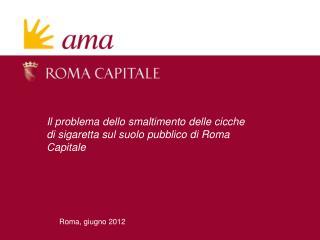 Il problema dello smaltimento delle cicche di sigaretta sul suolo pubblico di Roma Capitale