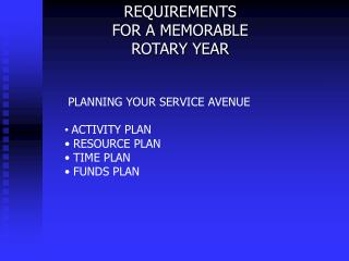 REQUIREMENTS  FOR A MEMORABLE  ROTARY YEAR