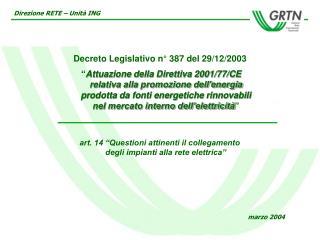 Decreto Legislativo n° 387 del 29/12/2003