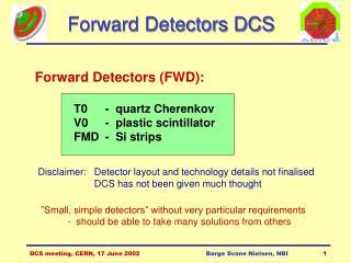 Forward Detectors DCS