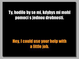 Ty, hodilo by se mi, kdybys mi mohl pomoci sjednou drobností.