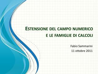 Estensione del campo numerico e le famiglie di calcoli