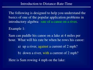 Introduction to Distance-Rate-Time