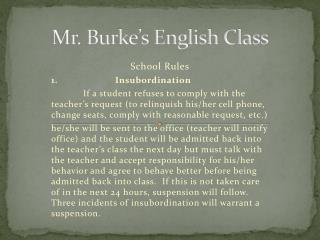 Mr. Burke's English Class