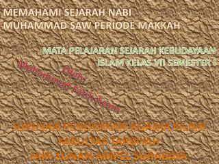 MEMAHAMI SEJARAH NABI MUHAMMAD SAW PERIODE MAKKAH