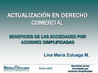 ACTUALIZACIÓN EN DERECHO COMERCIAL BENEFICIOS DE LAS SOCIEDADES POR ACCIONES SIMPLIFICADAS