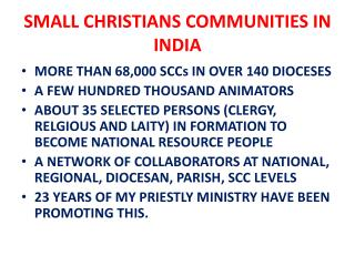SMALL CHRISTIANS COMMUNITIES IN INDIA