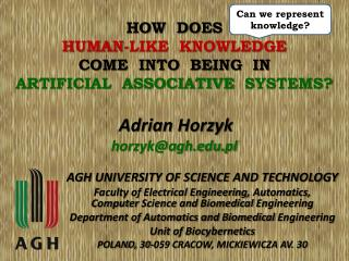 HOW  DOES HUMAN-LIKE  KNOWLEDGE COME  INTO  BEING  IN ARTIFICIAL  ASSOCIATIVE   SYSTEMS?