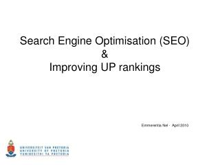 Search Engine Optimisation (SEO) & Improving UP rankings