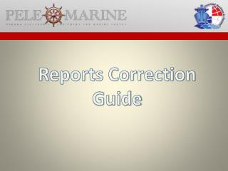 Reports Correction Guide
