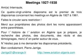 Meetings 1927-1938 Ami(e) Internaute,