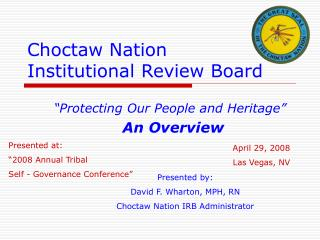 Choctaw Nation  Institutional Review Board