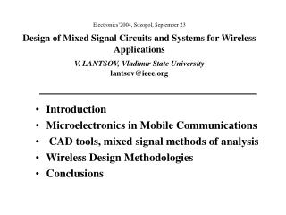 Introduction Microelectronics in Mobile Communications