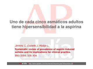 Uno de cada cinco asmáticos adultos tiene hipersensibilidad a la aspirina