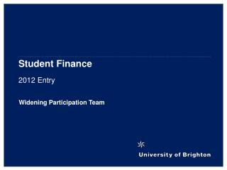 Student Finance 2012 Entry