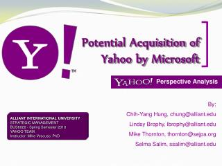 Potential Acquisition of Yahoo by Microsoft