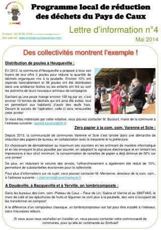 Lettre d'information n°4 Mai 2014