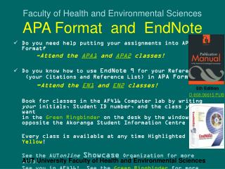 Faculty of Health and Environmental Sciences APA Format  and  EndNote