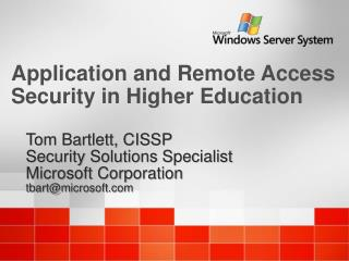 Application and Remote Access Security in Higher Education
