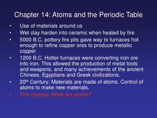 Chapter 14: Atoms and the Periodic Table