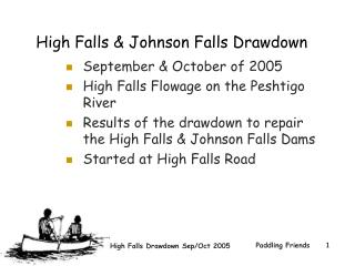 High Falls & Johnson Falls Drawdown