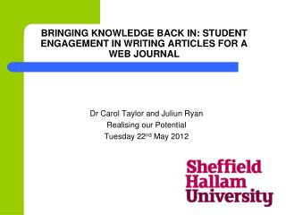 Bringing Knowledge Back In: Student Engagement in Writing Articles for a Web journal
