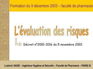 Formation du 9 d�cembre 2003 � facult� de pharmacie