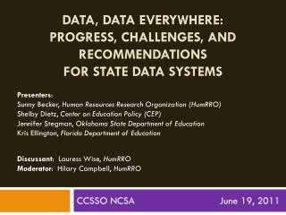 Data, Data Everywhere:  Progress, Challenges, and Recommendations  for  State Data  Systems